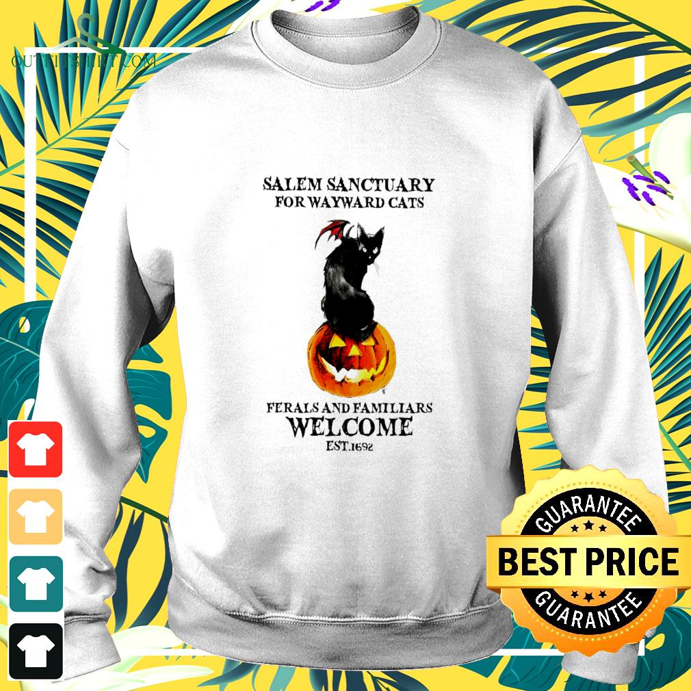 Salem sanctuary for wayward cats ferals and familiars welcome est.1692 halloween sweater