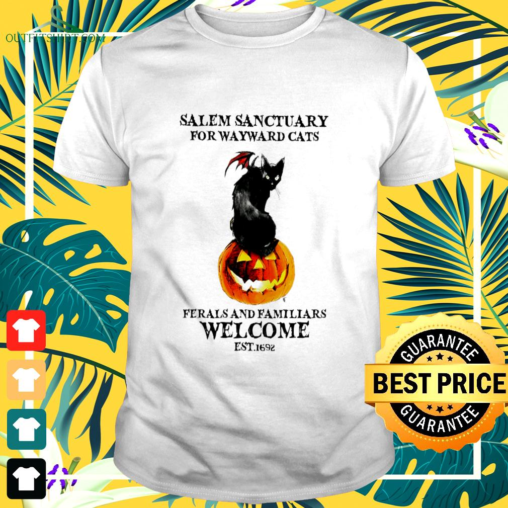 Salem sanctuary for wayward cats ferals and familiars welcome est.1692 halloween t-shirt