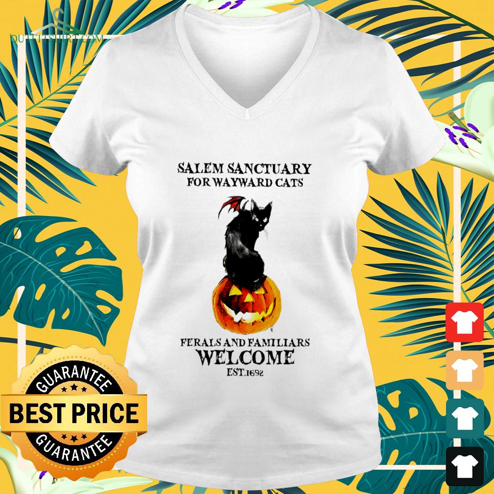 Salem sanctuary for wayward cats ferals and familiars welcome est.1692 halloween v-neck t-shirt