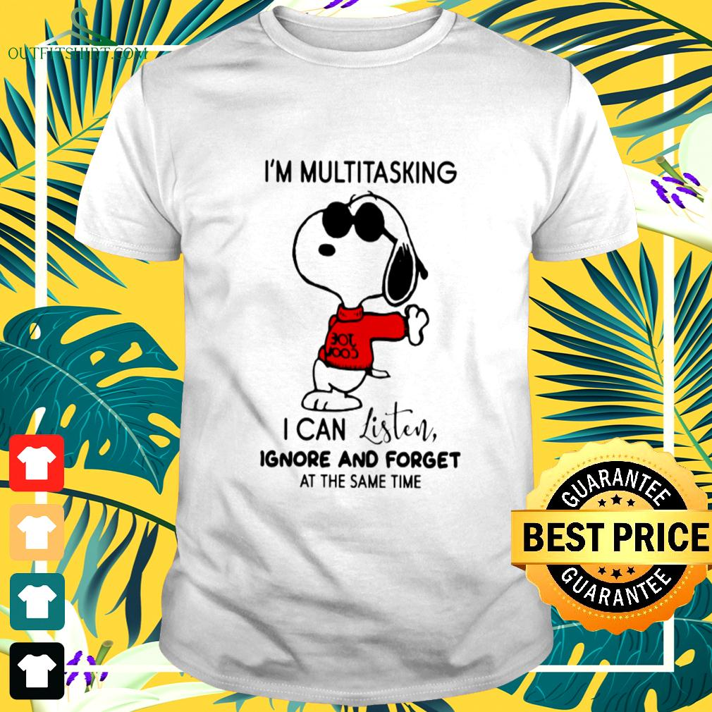 Snoopy I'm multitasking I can listen ignore and forget at the same time t-shirt