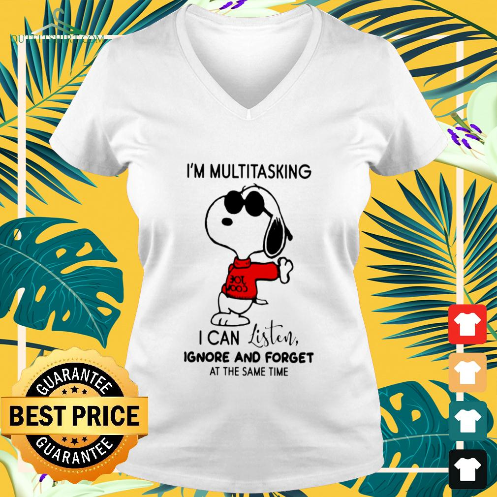 Snoopy I'm multitasking I can listen ignore and forget at the same time v-neck t-shirt