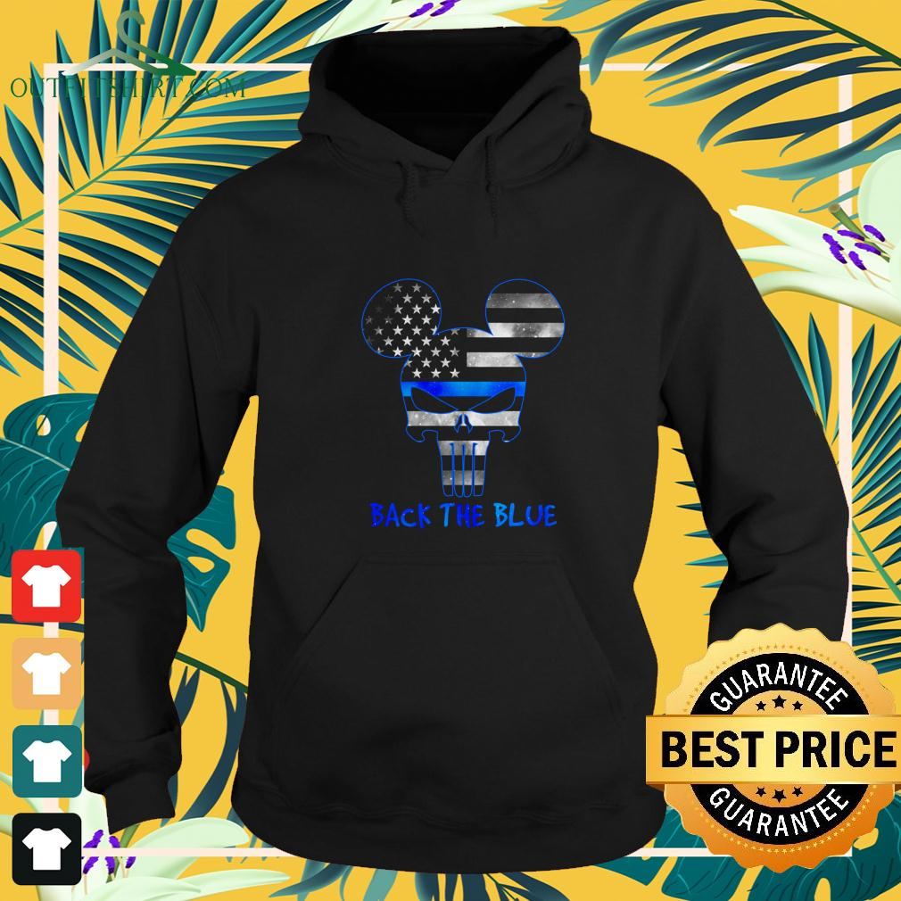 Thin Blue Line USA Mickey Punisher Skull back the blue hoodie