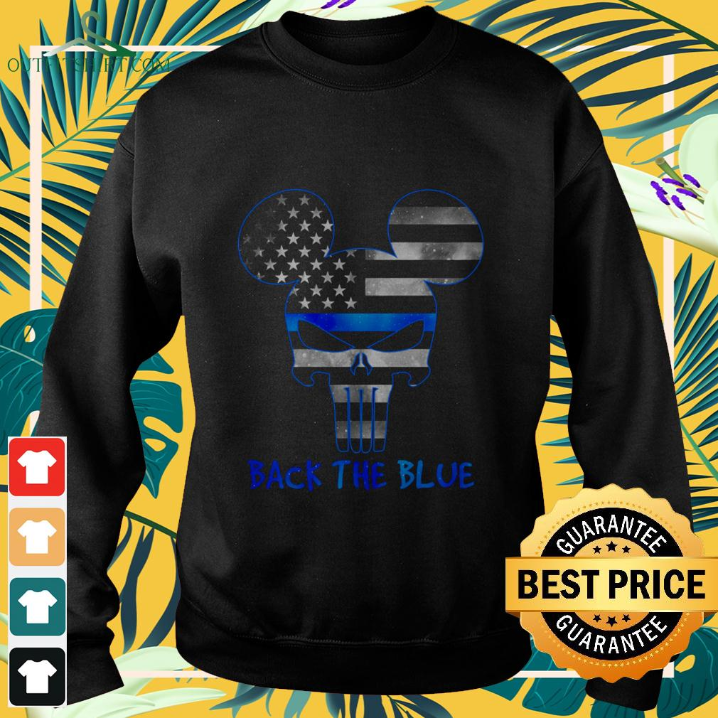 Thin Blue Line USA Mickey Punisher Skull back the blue sweater
