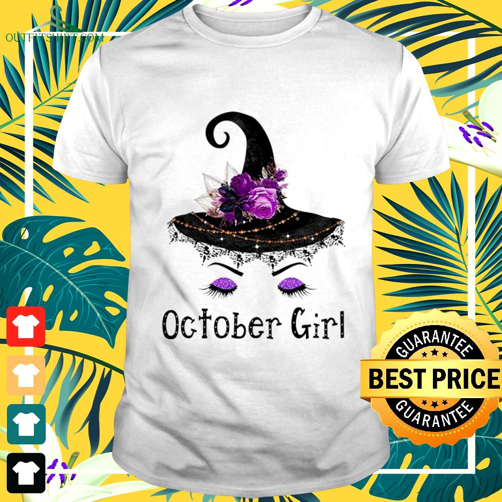 Witch and flowers October girl t-shirt