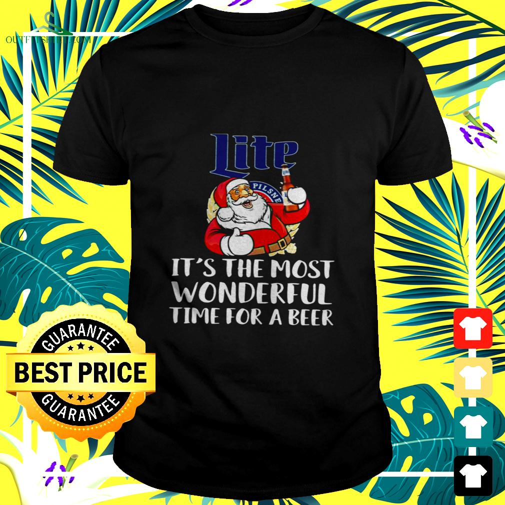 Santa claus drink lite pilsner beer it's the most wonderful time for a beer t-shirt