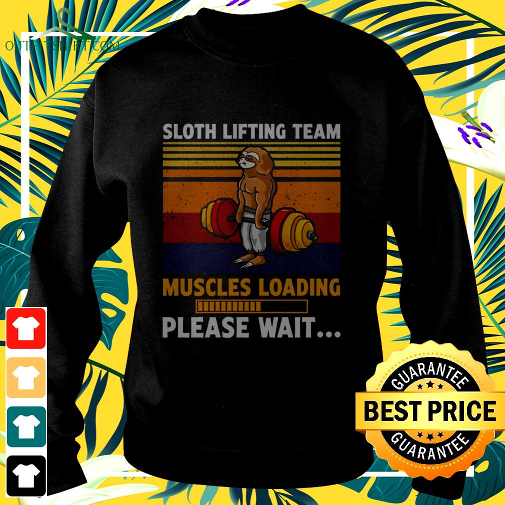 Sloth lifting team muscles loading please wait vintage sweater