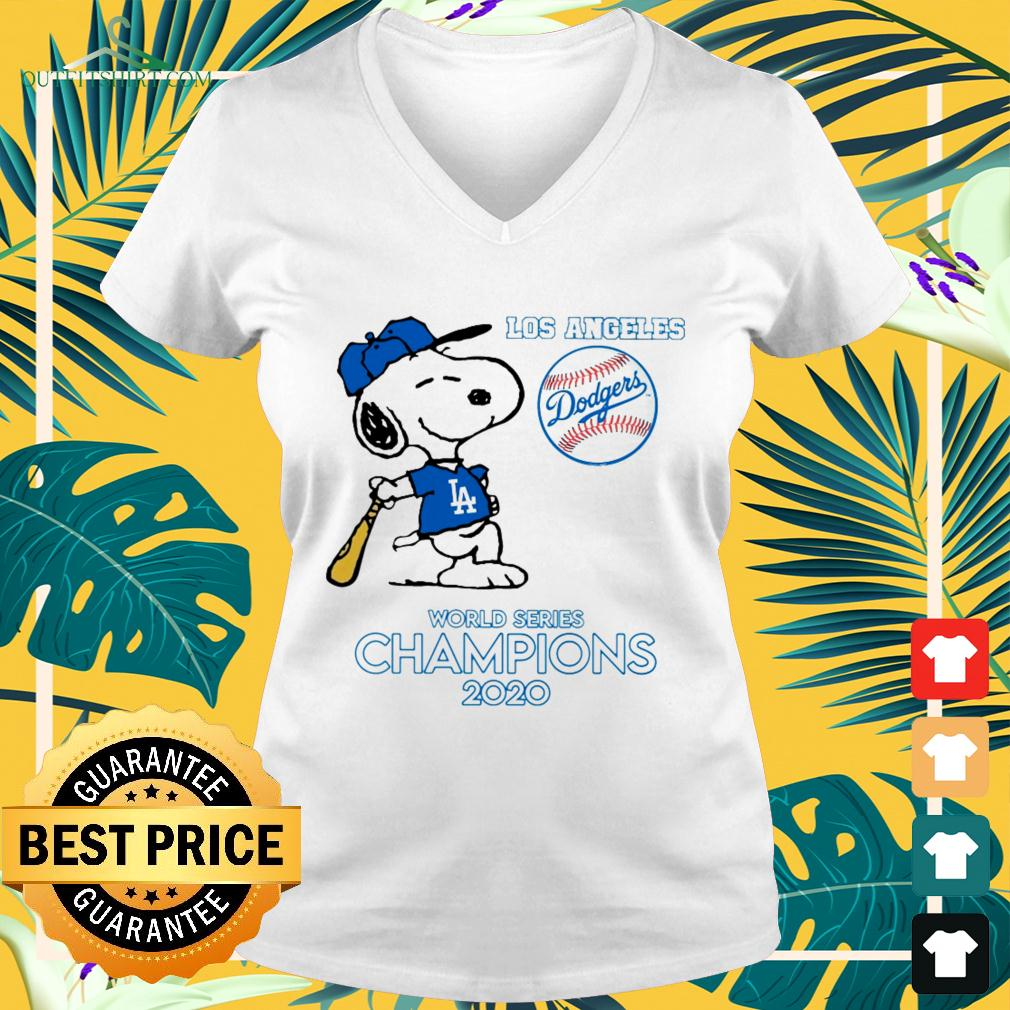 Snoopy Los Angeles Dodgers world series champions 2020 v-neck t-shirt