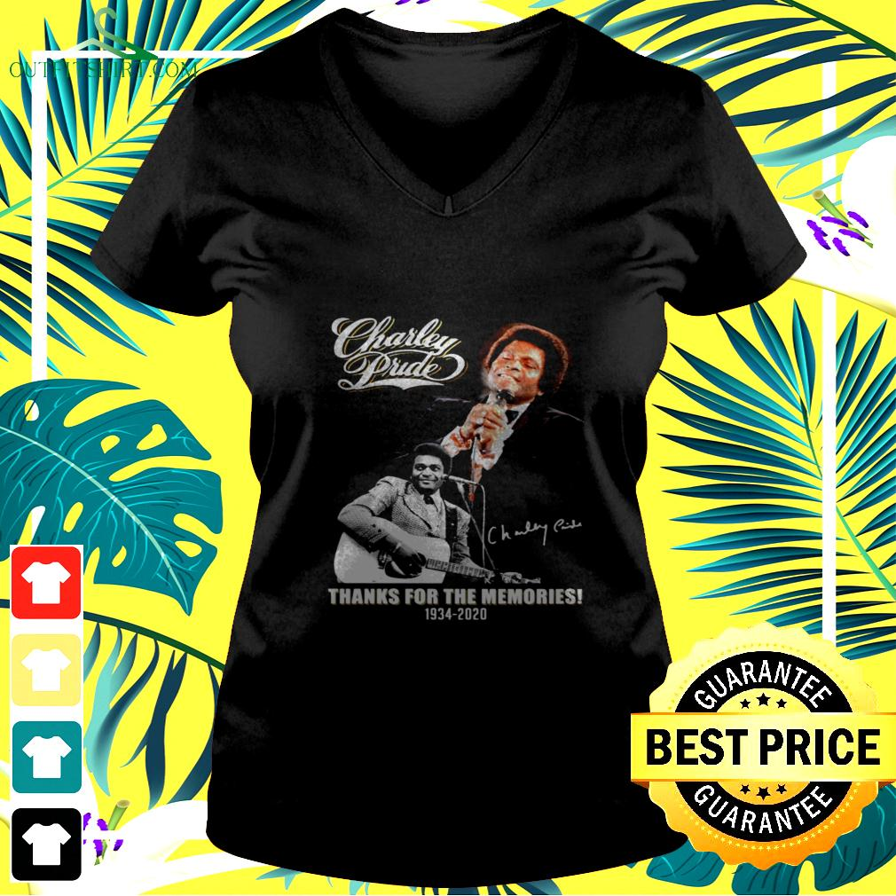 Charley Pride thanks for the memories 1934-2020 signature v-neck t-shirt