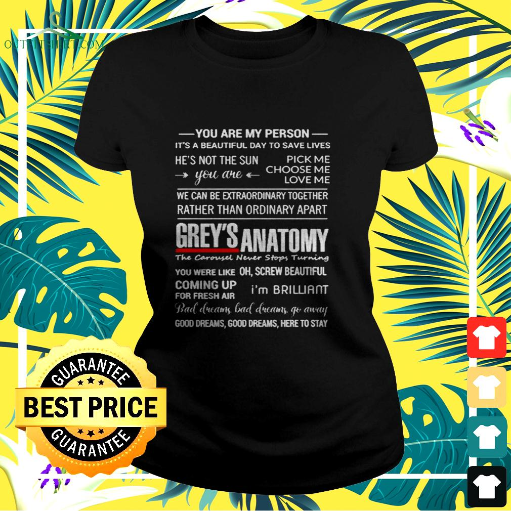Grey's Anatomy you are my person it's a beautiful day to save lives ladies-tee