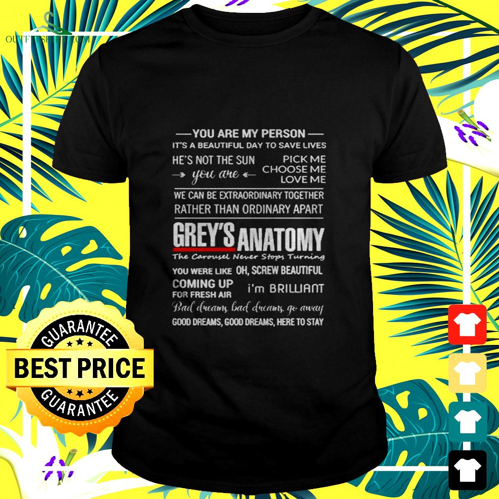 Grey's Anatomy you are my person it's a beautiful day to save lives t-shirt