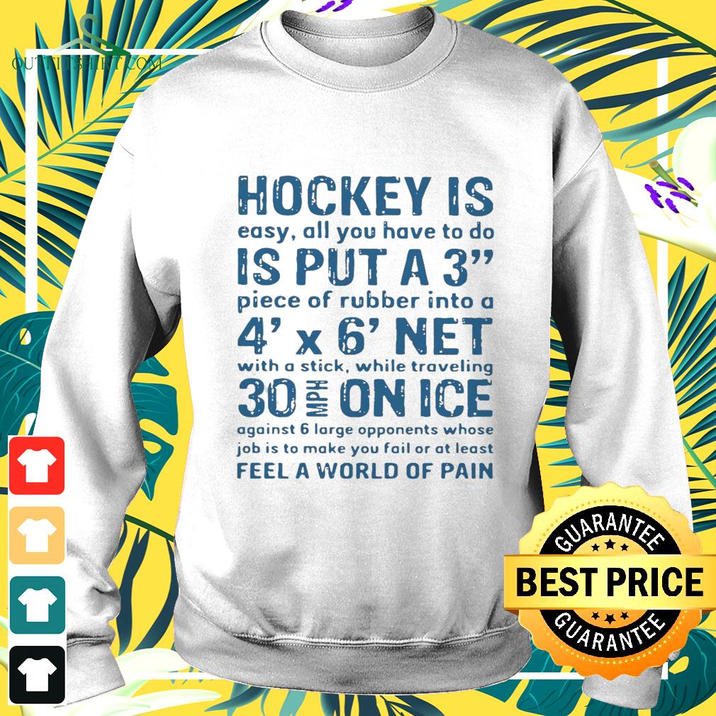 Hockey is easy all you have to do is put a3 piece of rubber into a 4 x 6 net sweater