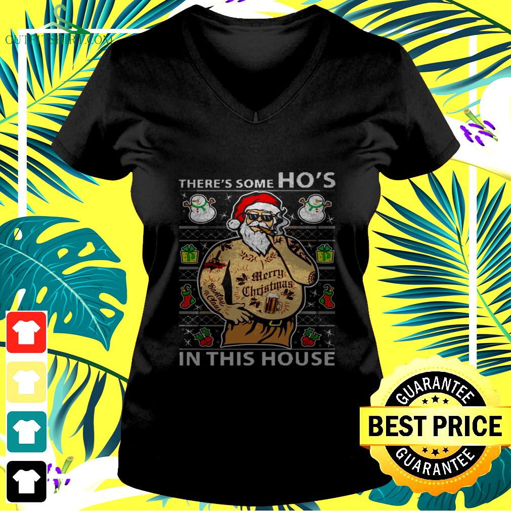 Santa wap there's some ho's in this house christmas v-neck t-shirt