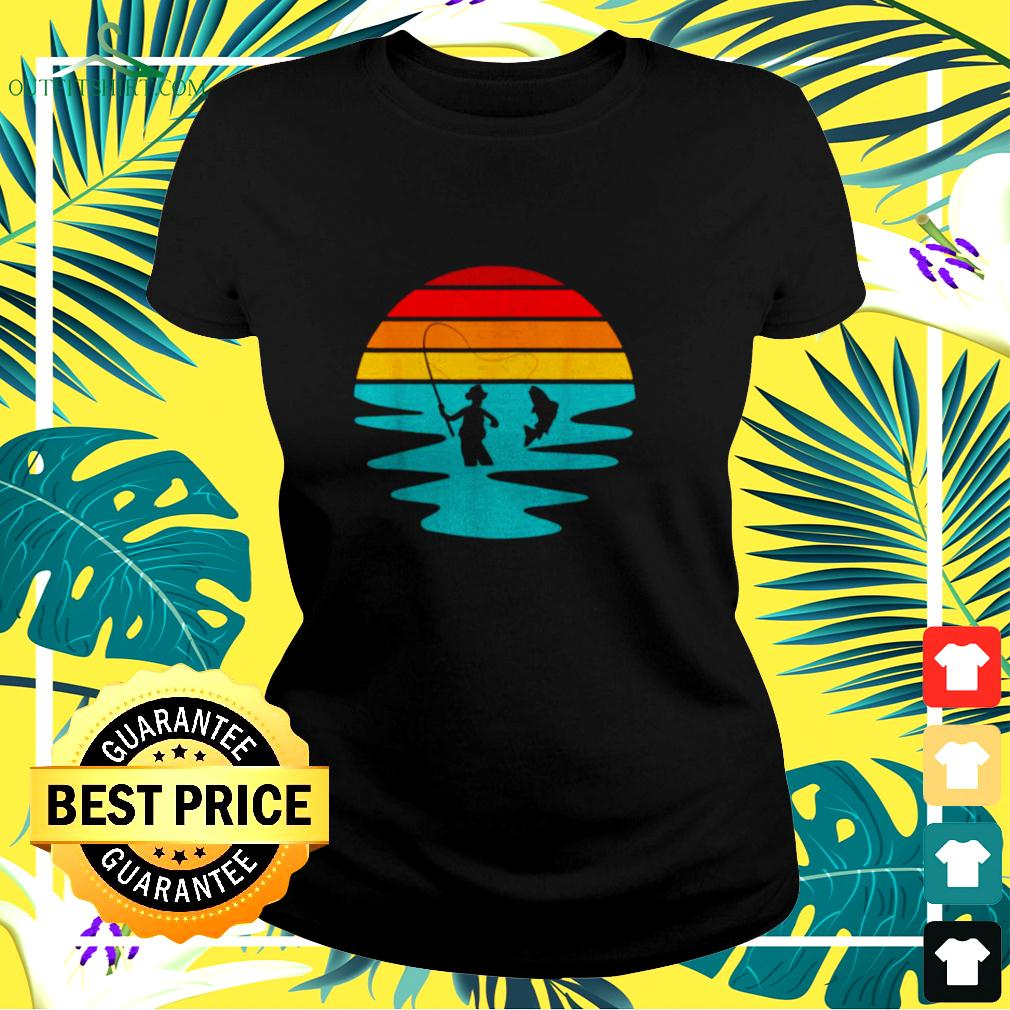 Sunset Artificial Nymph Fly Fishing Vintage ladies-tee