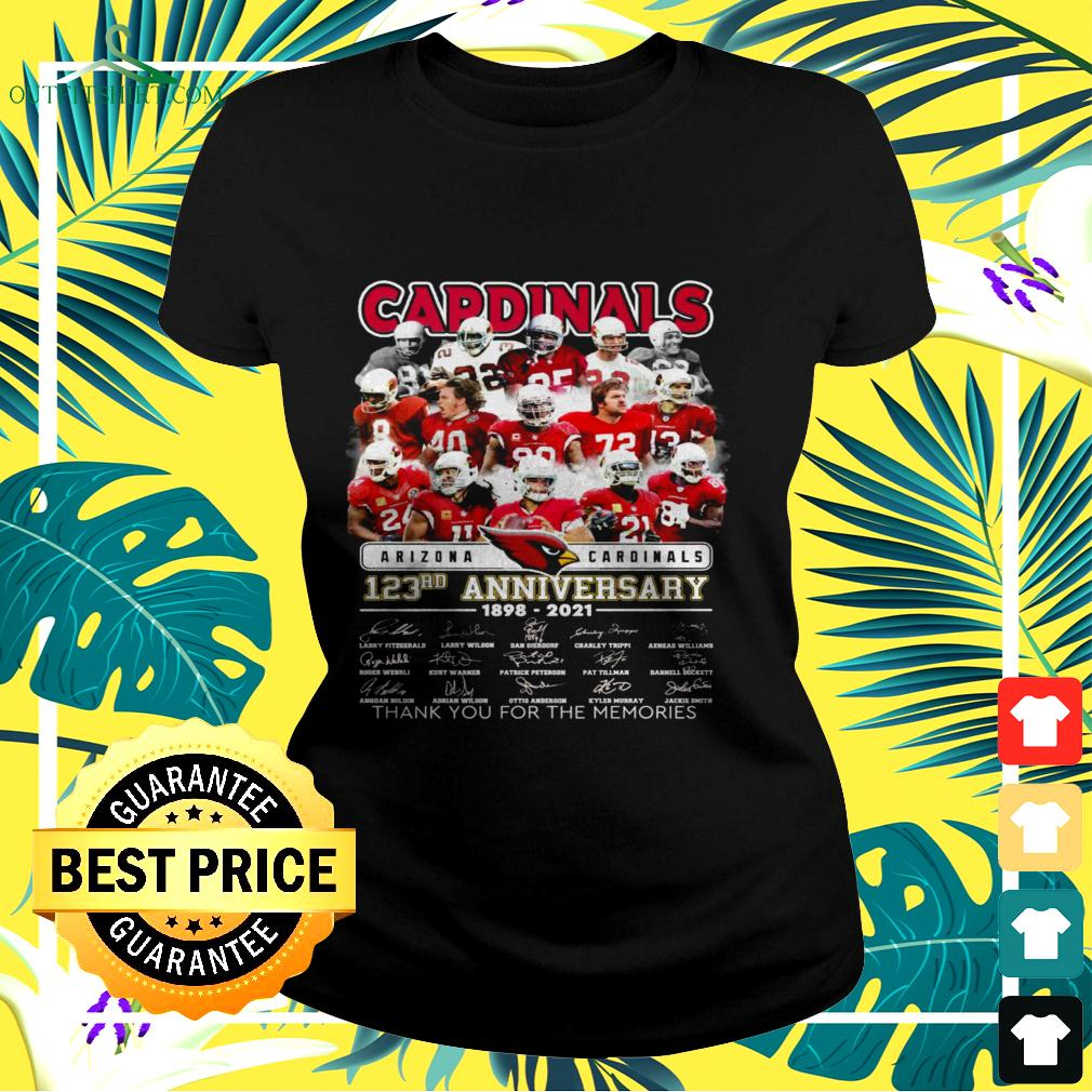 Arizona Cardinals 123rd anniversary 1898-2021 thank you for the memories ladies-tee
