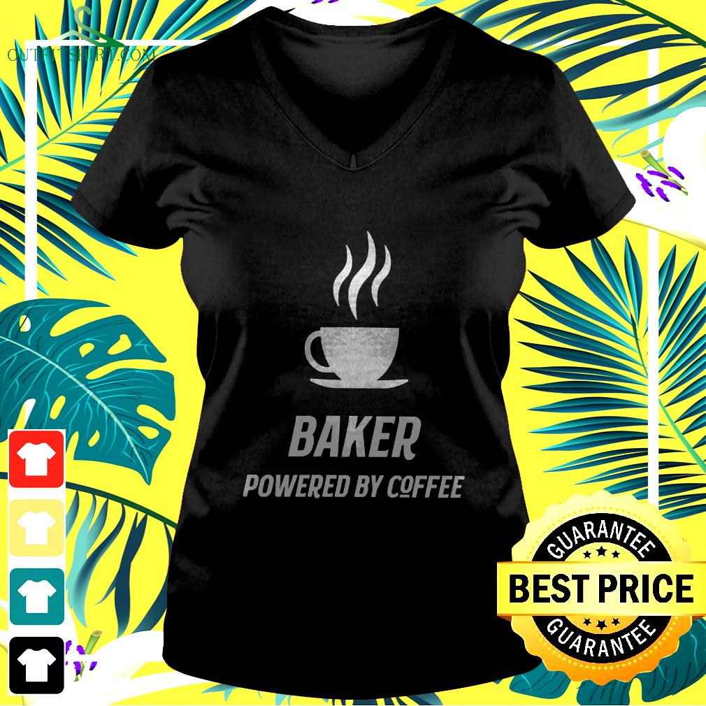 Baker Powered By Coffee Fun v-neck t-shirt