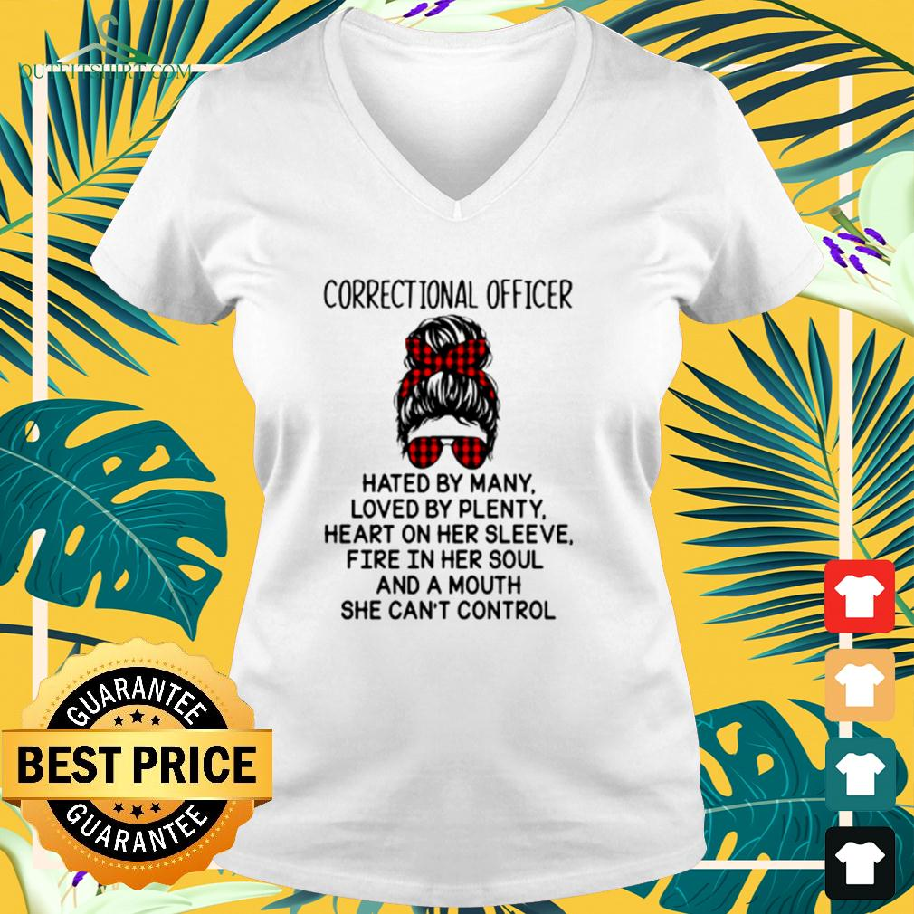 Correctional officer hated by many loved by plenty heart on her sleeve v-neck t-shirt
