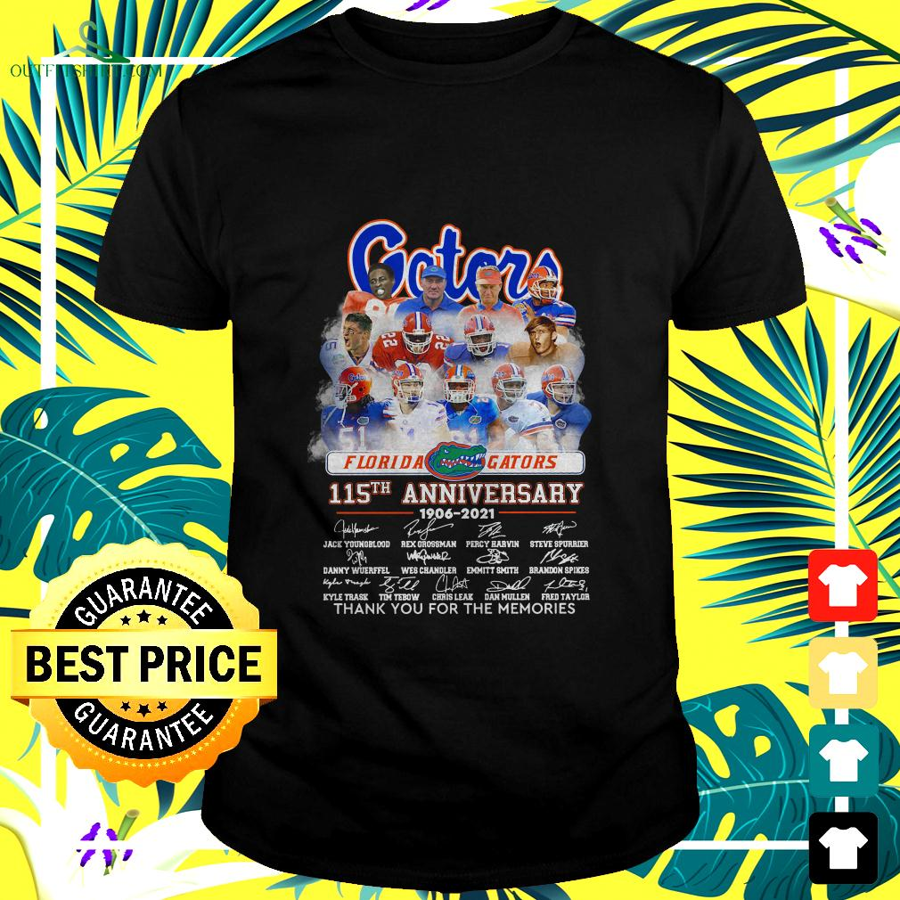 Florida Gators 115th anniversary 1906-2021 thank you for the memories t-shirt