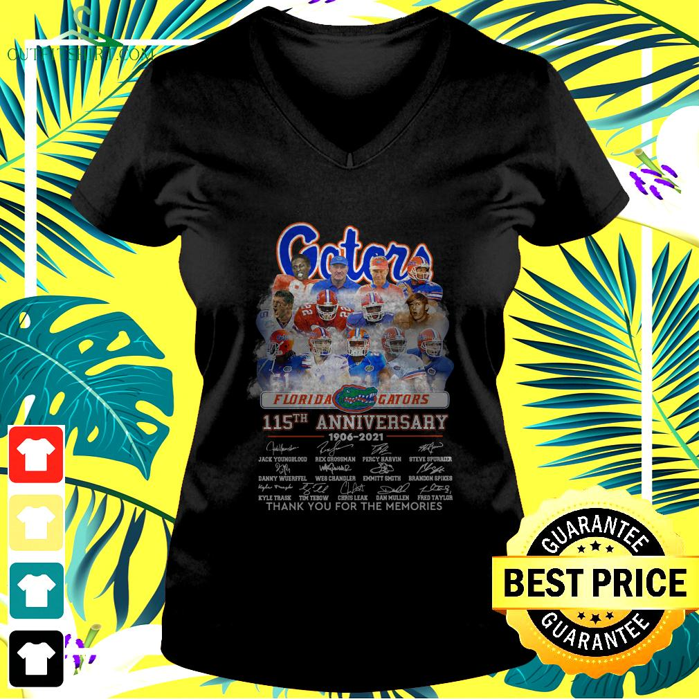 Florida Gators 115th anniversary 1906-2021 thank you for the memories v-neck t-shirt