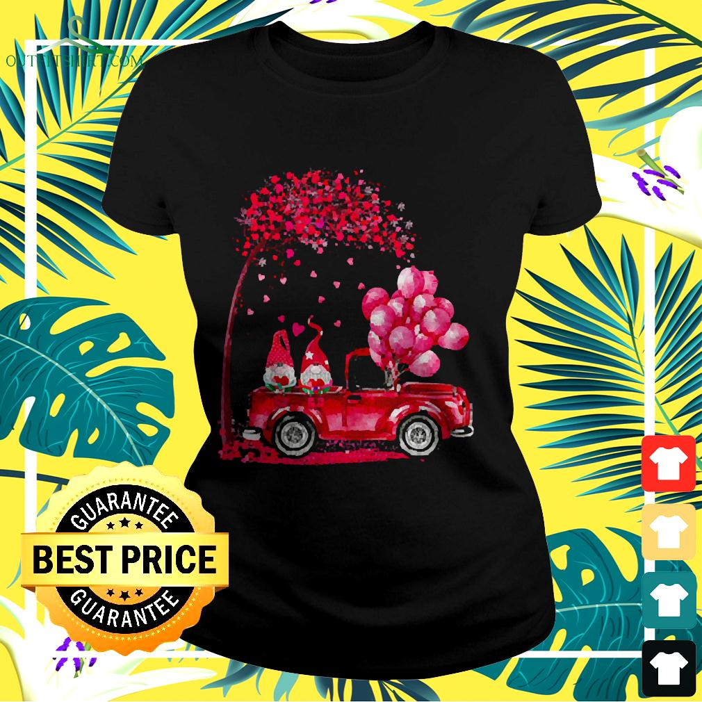 Funny Cute Gnomes In Trucks Happy Valentine Gifts ladies-tee