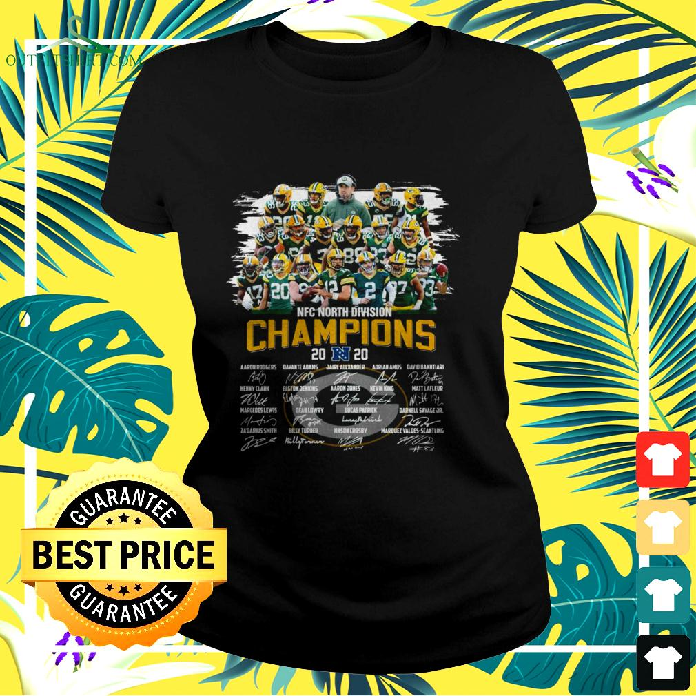 Green Bay Packers NFC North Division Champions 2020 signatures ladies-tee