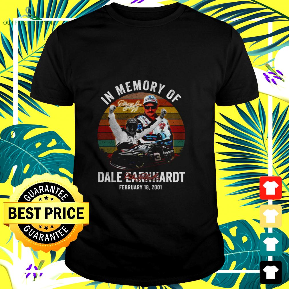 In memory of dale earnhardt february 18 2001 signature t-shirt