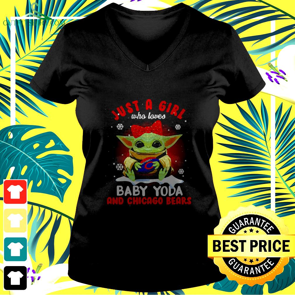 Just A Girl Who Loves Baby Yoda And Chicago Bears Football v-neck t-shirt