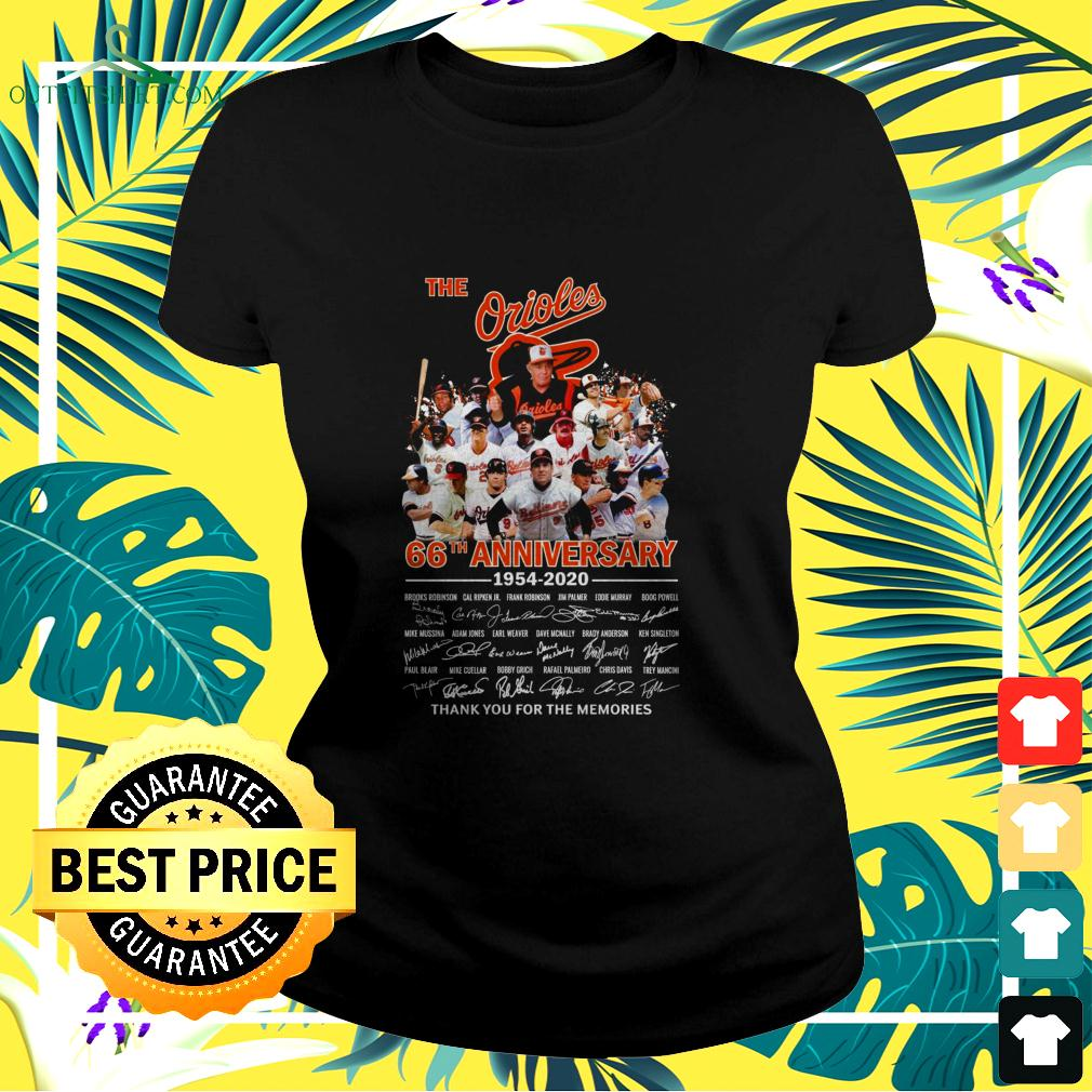 The Orioles 66th anniversary 1954-2020 thank you for the memories ladies-tee