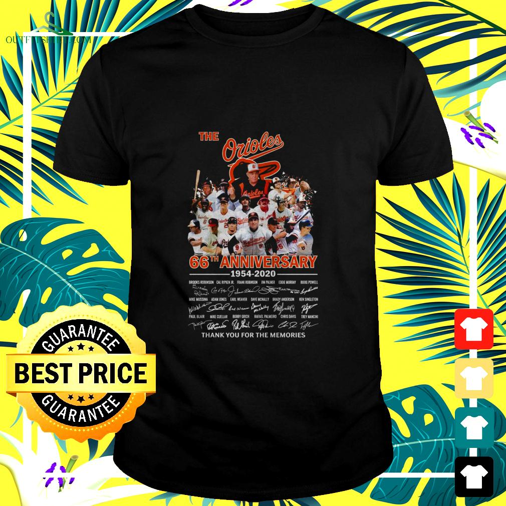 The Orioles 66th anniversary 1954-2020 thank you for the memories t-shirt