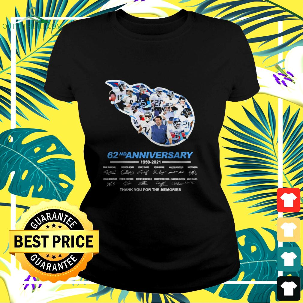 Titans 62nd anniversary thank you for the memories signatures ladies-tee
