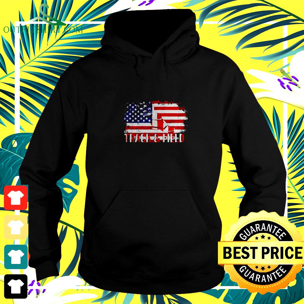 Vintage Track And Field With American Flag For Sports hoodie
