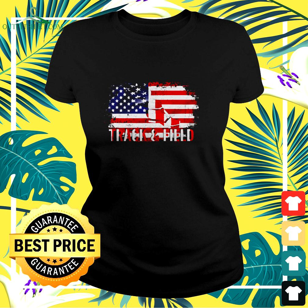 Vintage Track And Field With American Flag For Sports ladies-tee