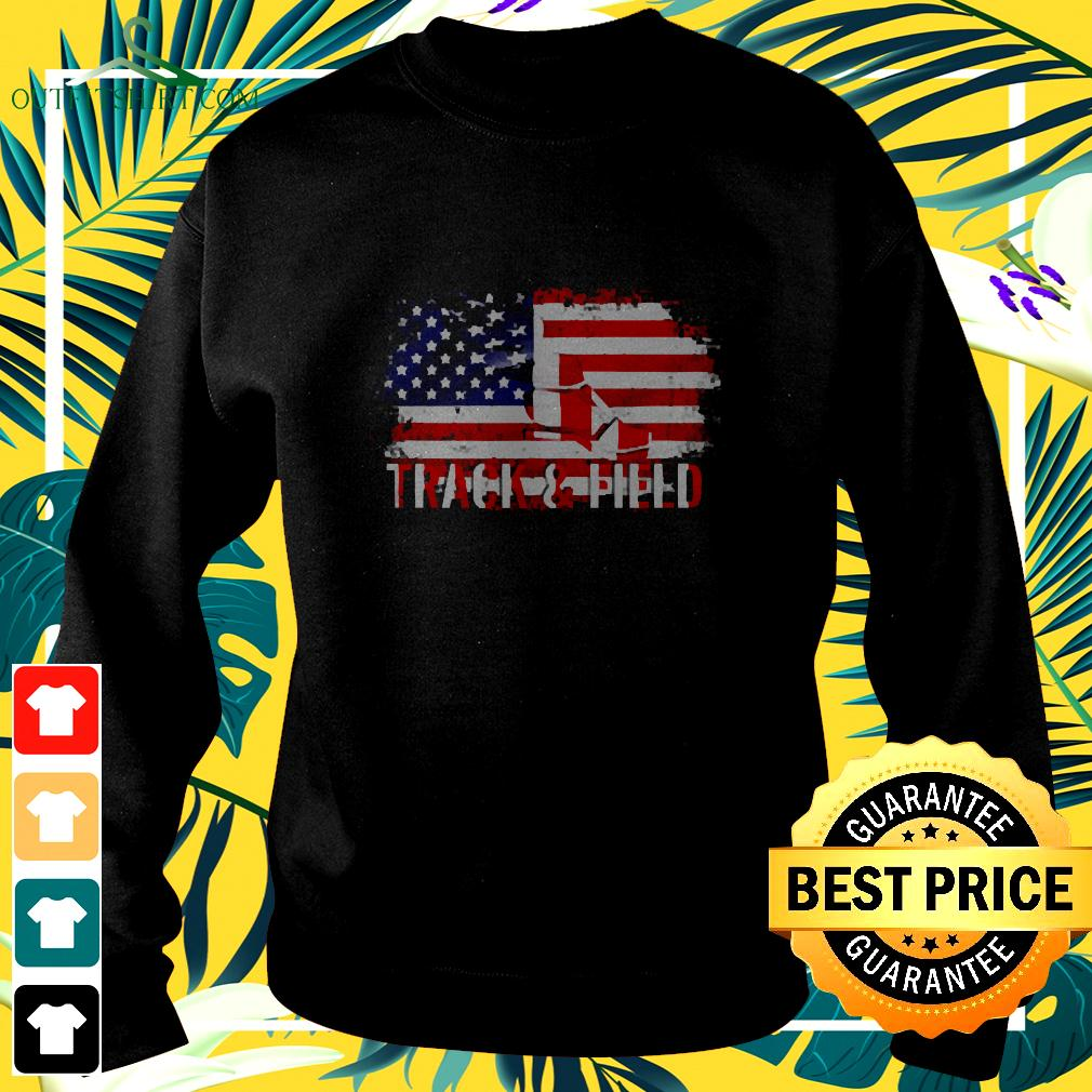 Vintage Track And Field With American Flag For Sports sweater
