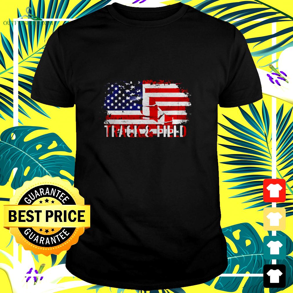 Vintage Track And Field With American Flag For Sports t-shirt