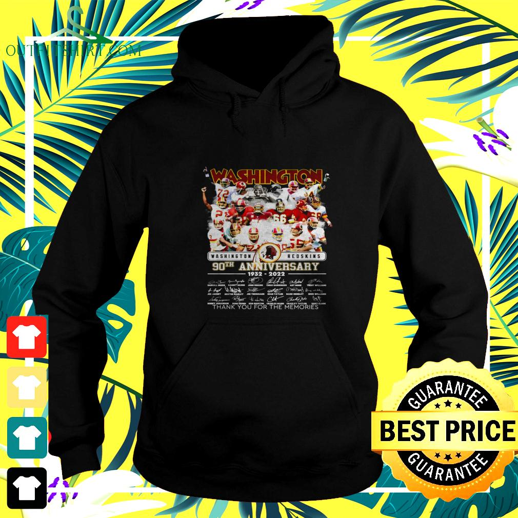 Washington Redskins 90th anniversary 1932-2022 thank you for the memories signatures hoodie