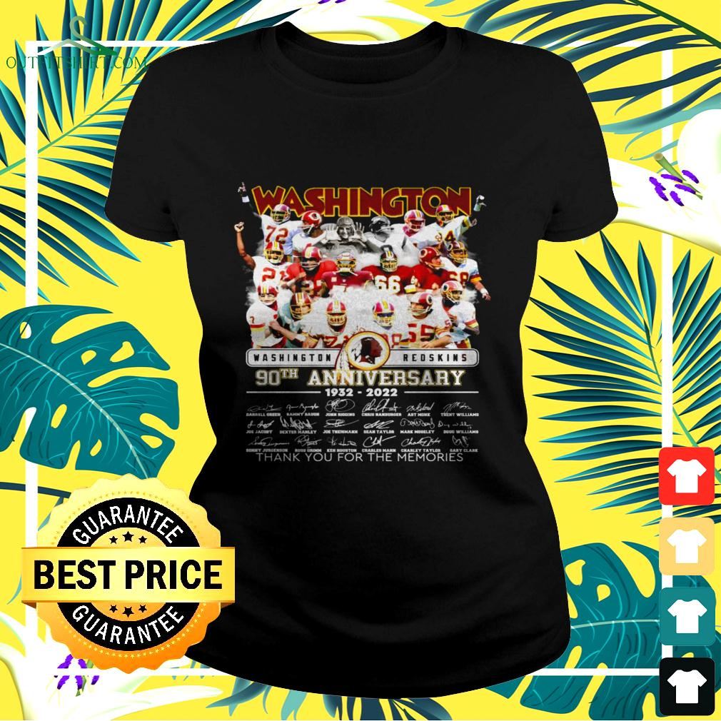 Washington Redskins 90th anniversary 1932-2022 thank you for the memories signatures ladies-tee