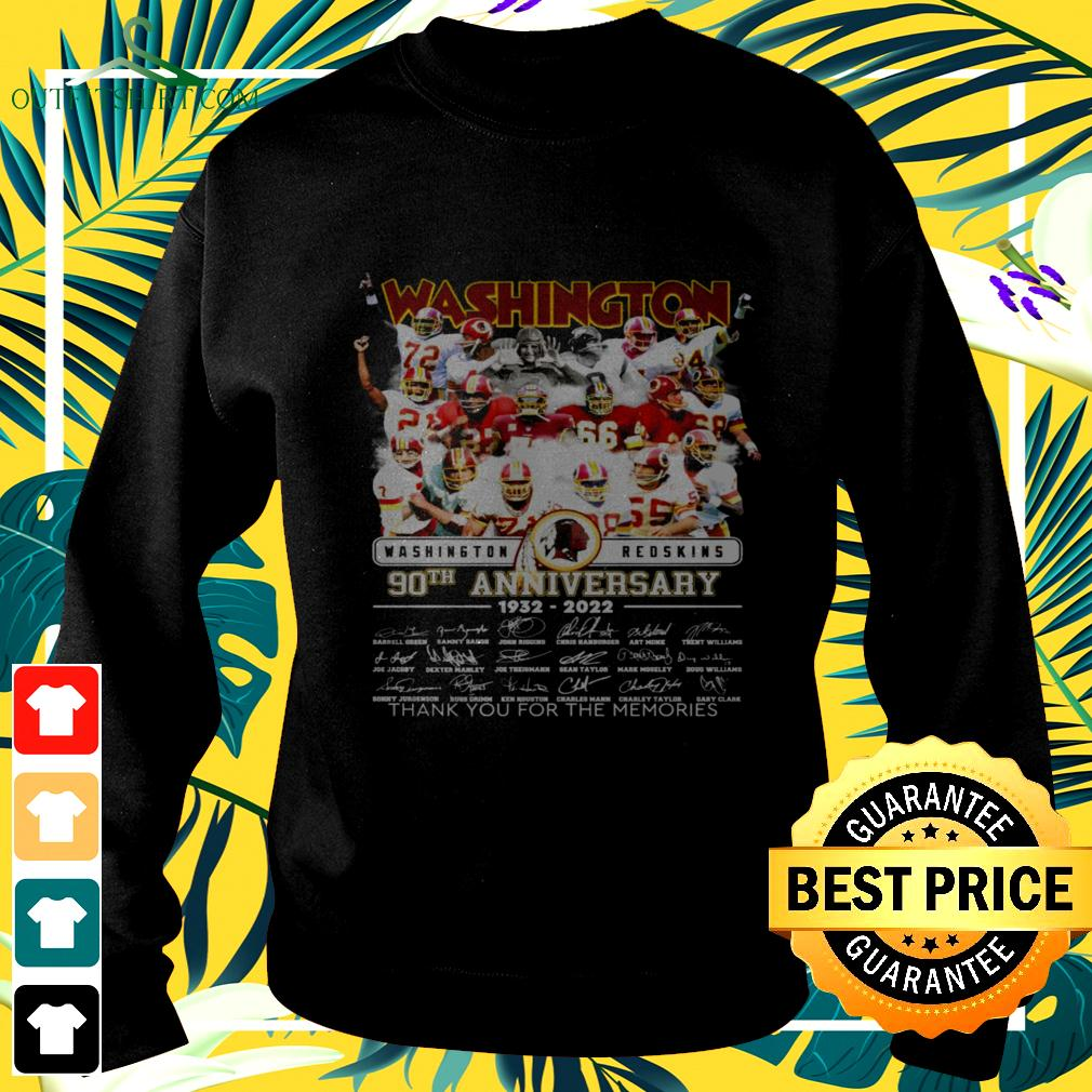 Washington Redskins 90th anniversary 1932-2022 thank you for the memories signatures sweater