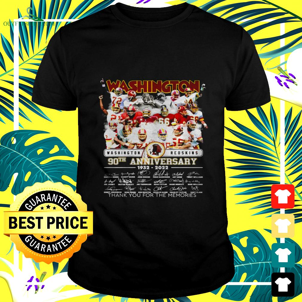 Washington Redskins 90th anniversary 1932-2022 thank you for the memories signatures t-shirt