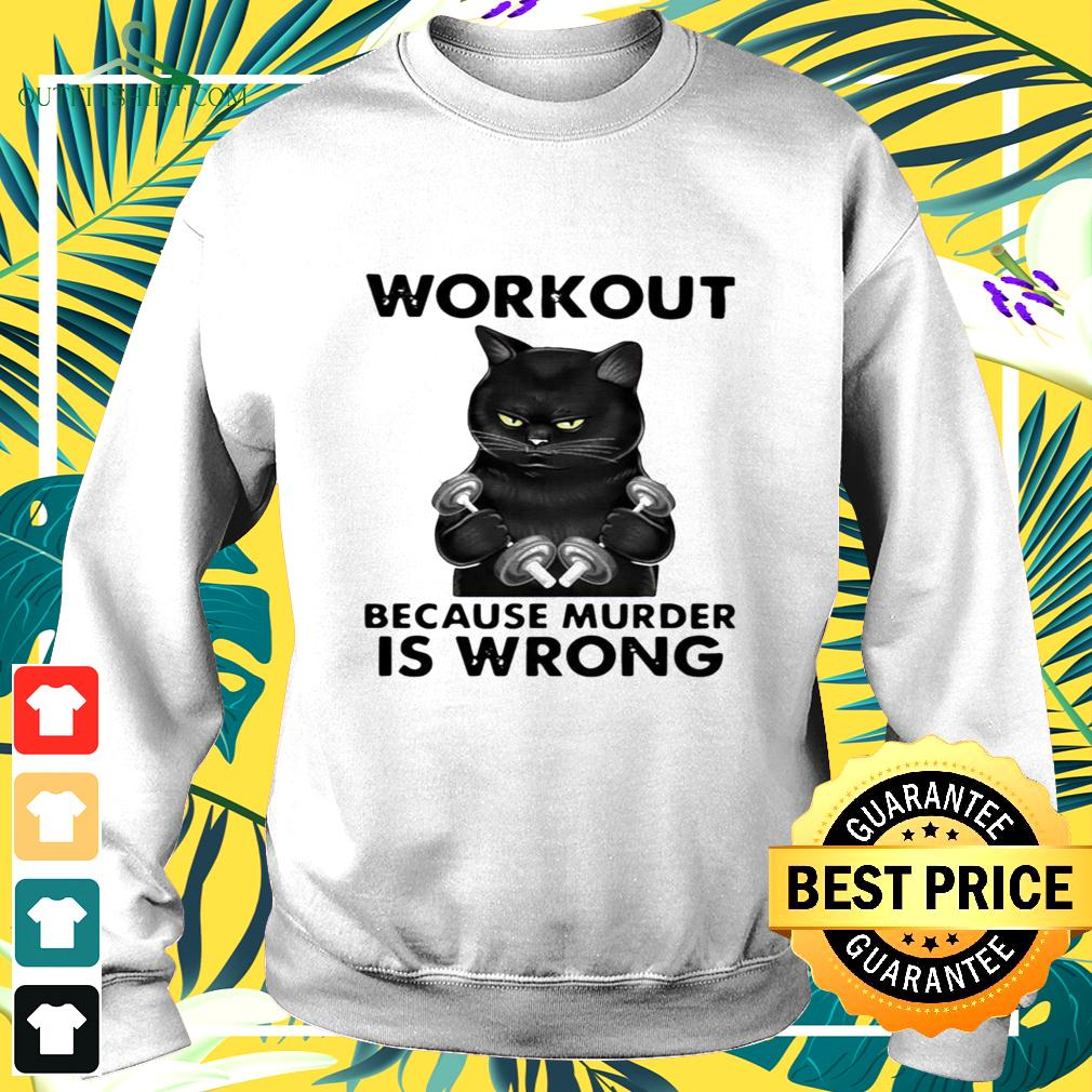 Workout because murder is wrong black cat vintage sweater