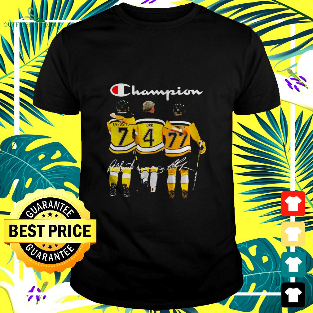 Boston Bruins Champions Esposito 7 Orr 4 Bourque 77 signatures t-shirt