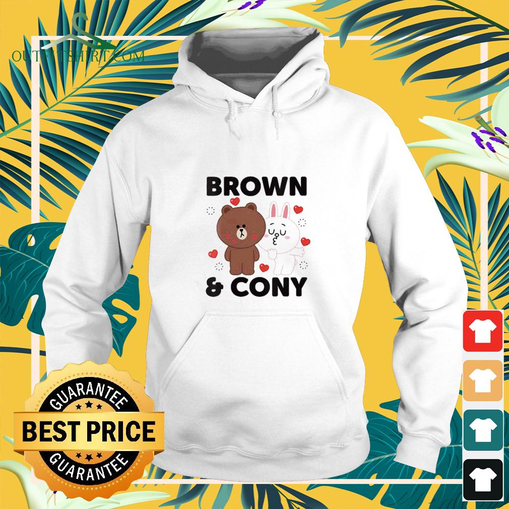 Line Friends Brown and Cony With Hearts hoodie