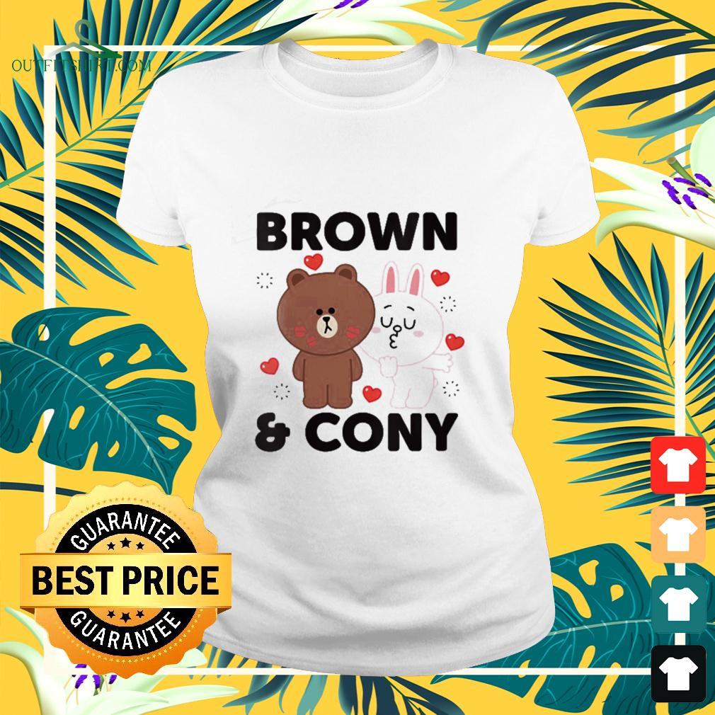 Line Friends Brown and Cony With Hearts ladies-tee