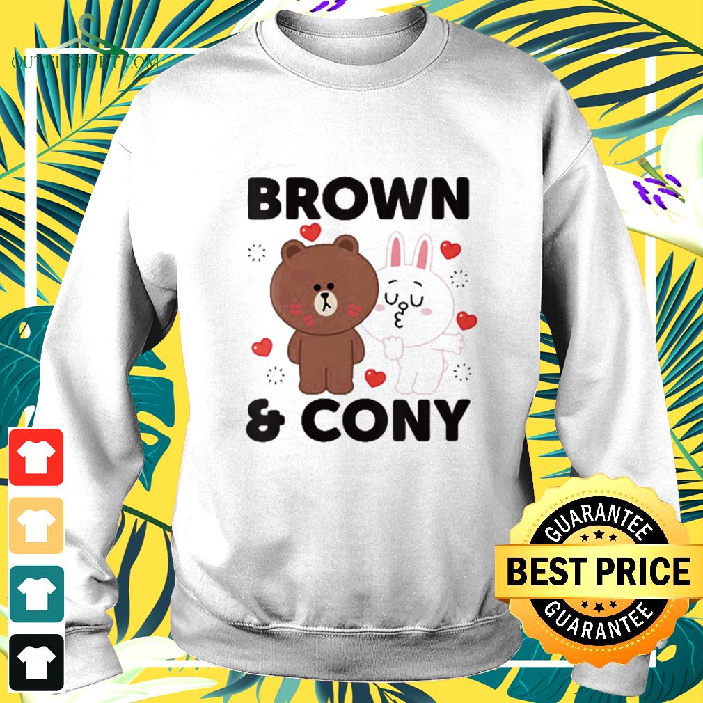 Line Friends Brown and Cony With Hearts sweater