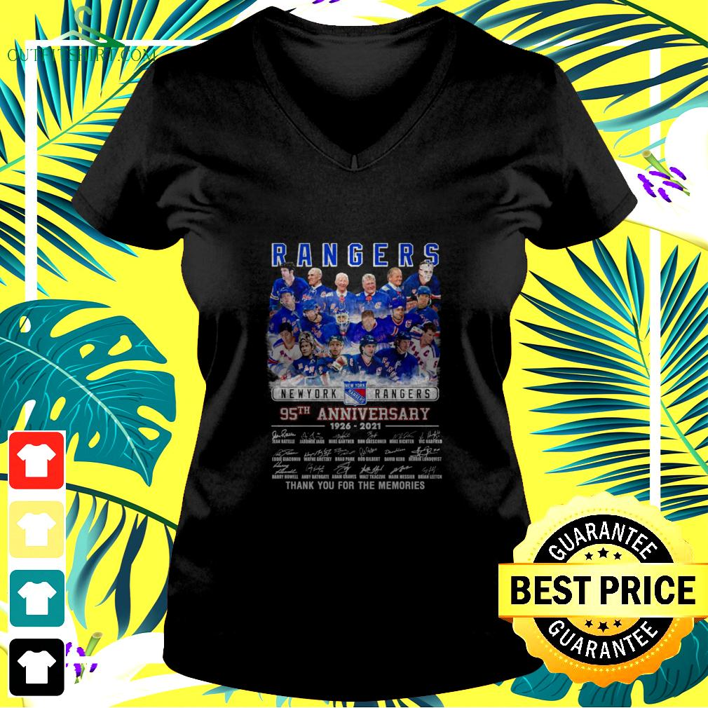 New York Rangers 95Th anniversary 1926-2021 signature thank you for the memories v-neck t-shirt