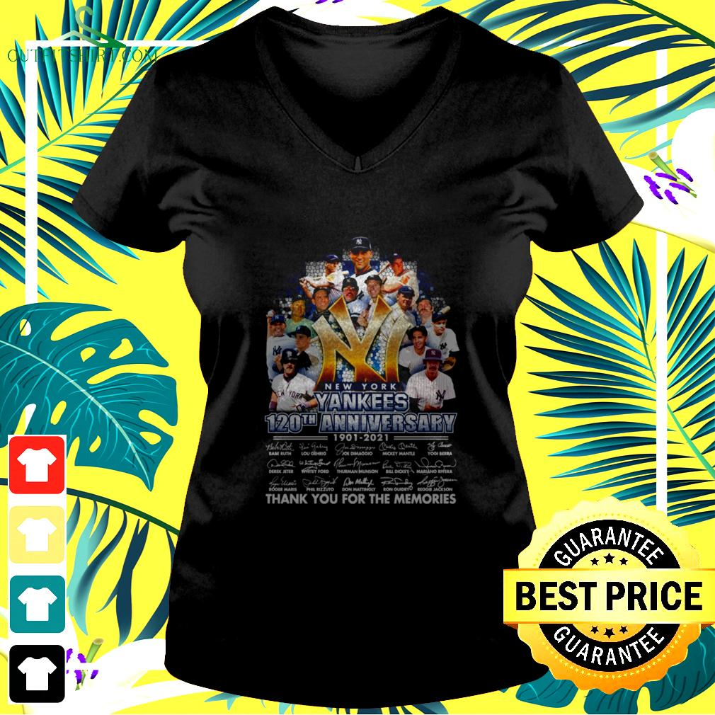 New York Yankees 120Th anniversary 1901-2021 signature thank you for the memories v-neck t-shirt