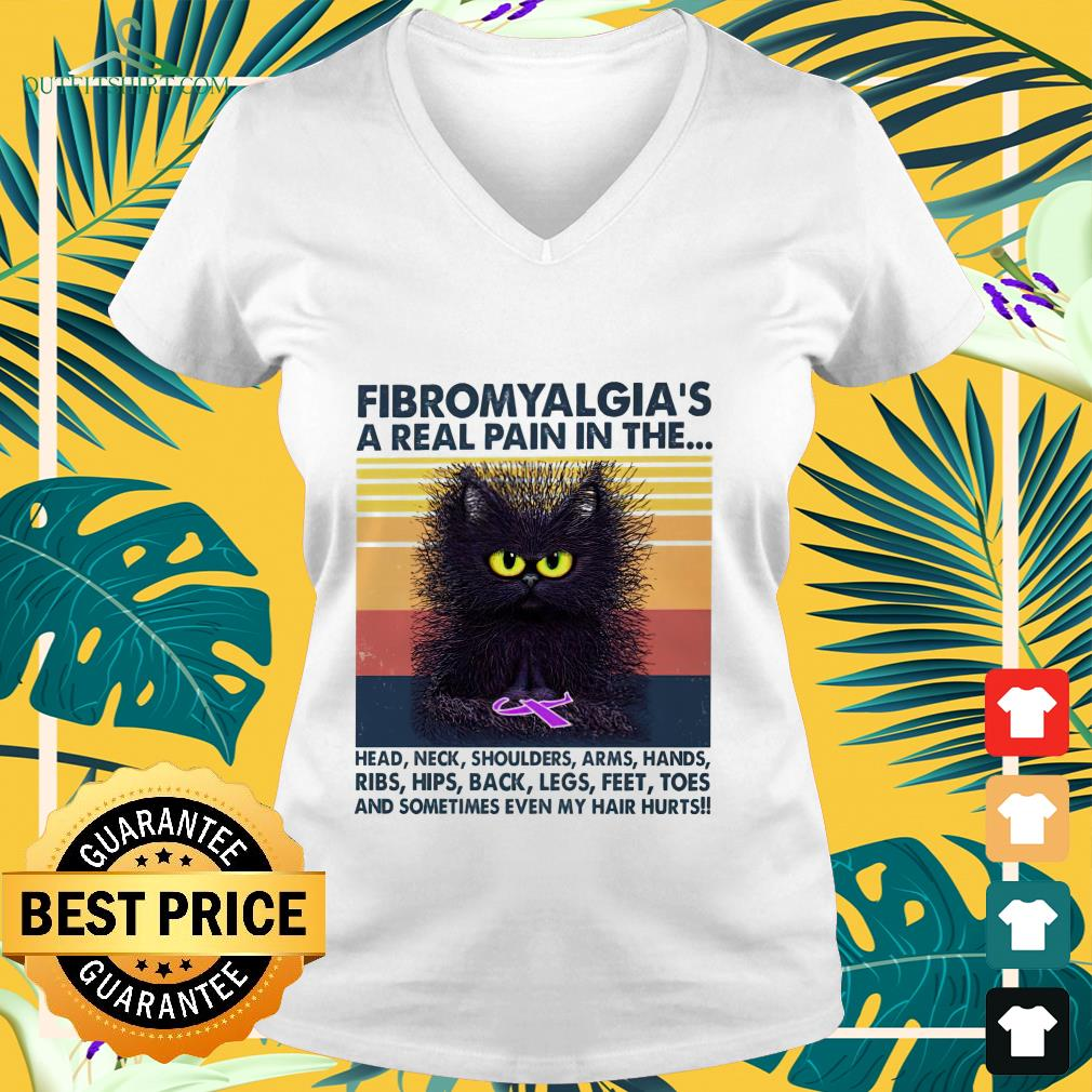 Cat Fibromyalgia's a real pain in the head neck shoulders arms hands vintage  v-neck t-shirt