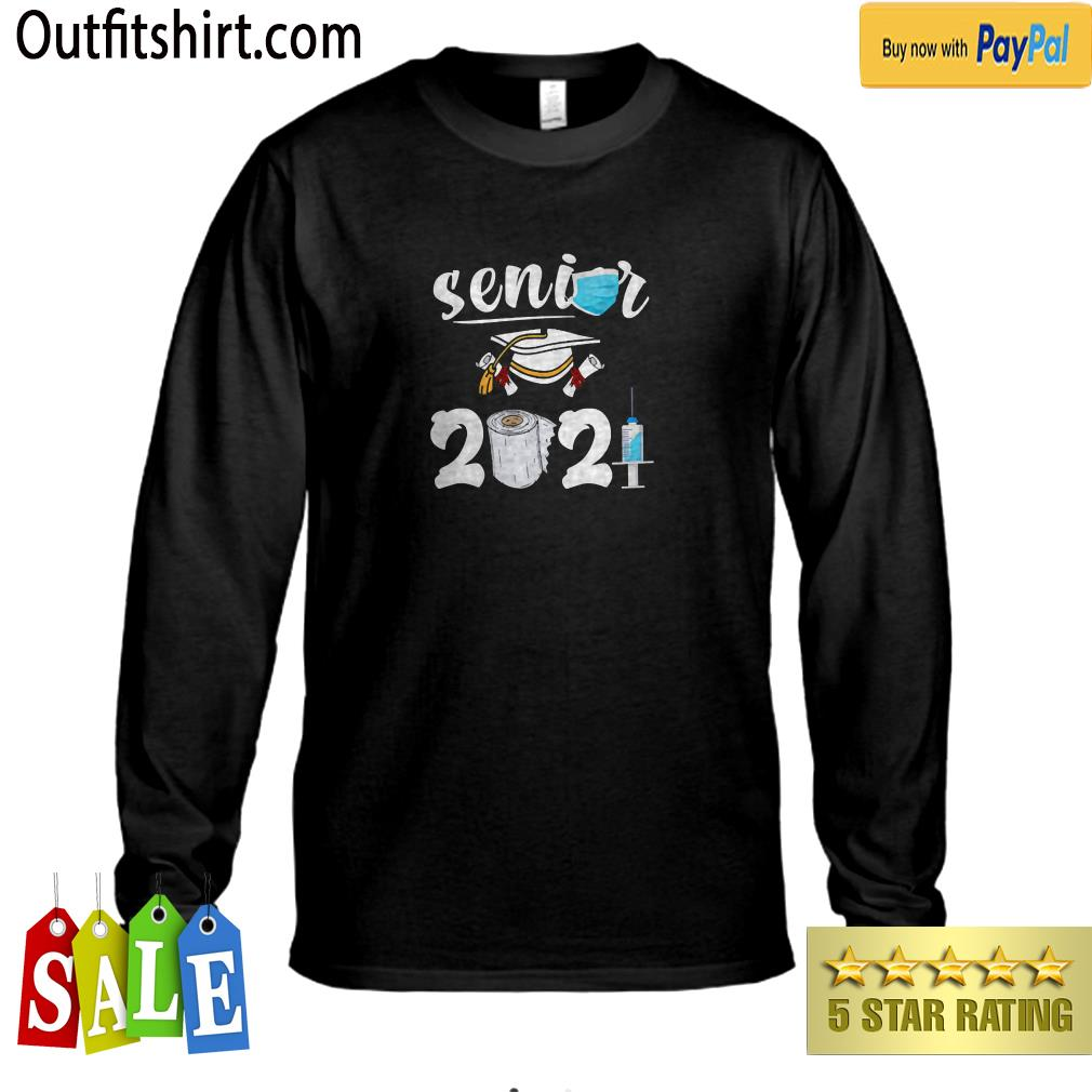 Class Of 2021 Senior Shirt Quarantine Face Mask Decorations longsleeve tee
