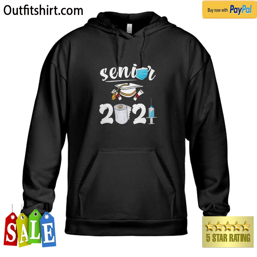 Class Of 2021 Senior Shirt Quarantine Face Mask Decorations hoodie