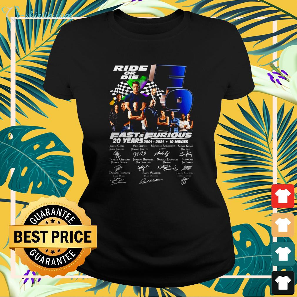 Ride or die F9 Fast and Furious 20 Years 2001-2021 signature ladies-tee