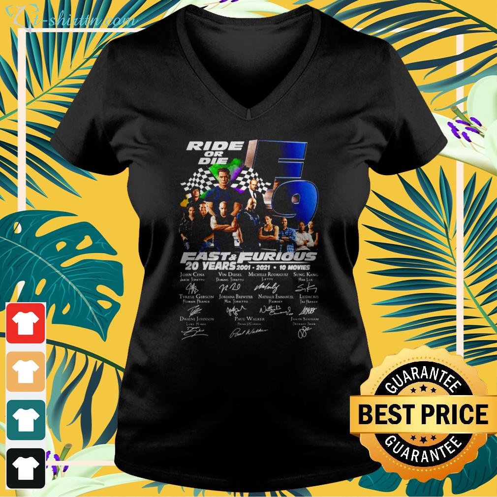 Ride or die F9 Fast and Furious 20 Years 2001-2021 signature v-neck t-shirt