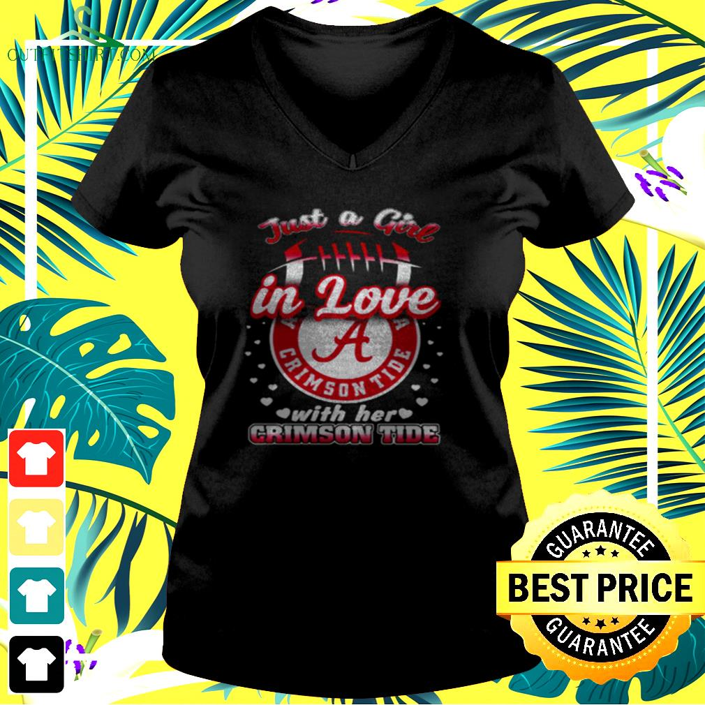 Just a girl in love with her Crimson Tide v-neck t-shirt